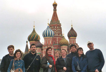 <figcaption>American and Russian colleagues near St. Basil's cathedral in Red Square, Moscow. Credit: Photograph: Tobi Nagel</figcaption>