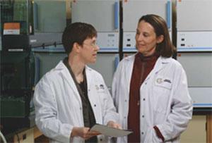 <figcaption>Tim Keith with Hélène Fournier, Director, Genotyping Laboratory at Genizon. Credit: COURTESY OF GENIZON</figcaption>